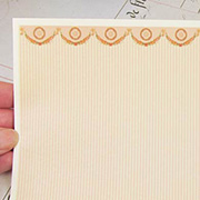 Half Scale Striped Dollhouse Wallpaper with Garlands