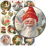 Gnome & Mushroom Ornaments Collage Sheet