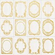 Romantique Foiled Gold Frames Scrapbook Paper