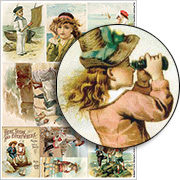 Seaside Victorian Children Collage Sheet