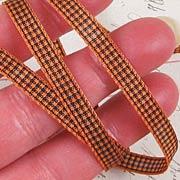 Black and Orange Mini Gingham Check Ribbon