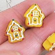 Tiny Ceramic Gingerbread House Bead