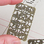 Rectangular Bronze Filigree - Medium