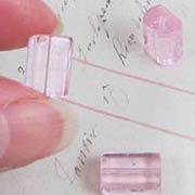12x8mm Pink Glass Rectangular Beads