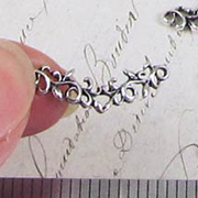 Curved Leafy Filigree Connector - Silver