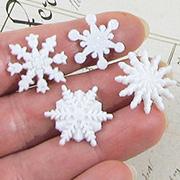 White Glittered Snowflake Embellishments