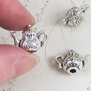 3D Silver Tea Time Teapot Charm