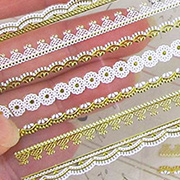 Gold & White Lace Clear Sticker Sheet