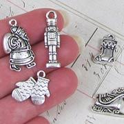 Santa Sleigh Silver Charm Set